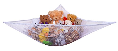 Jumbo Toy Hammock - Organize Stuffed Animals or Children s Toys with The mesh Hammock. Looks Great with Any décor While neatly organizing Kid's Toys and Stuffed Animals. Expands to 5.5 feet - White