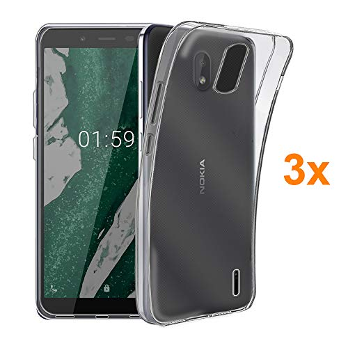 Pack 3X Cover in Gel TPU Trasparente per Nokia 1 Plus - 1+, Ultra Sottile 0,33 mm, Morbido Flessibile, Custodia Silicone, Elettronica Re®