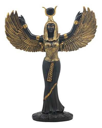 "Ebros Gift Egyptian Goddess Isis Ra with Open Wings Statue 12"" Tall Deity of Motherhood Magic Wisdom and Nature Home Decorative Sculpture Gods of Egypt Accent (Black and Gold)"