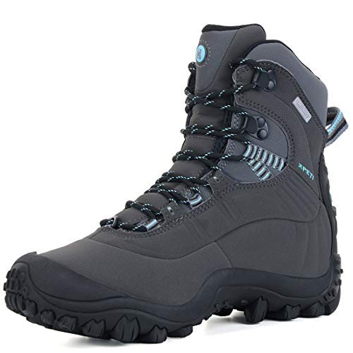 XPETI Women's Thermator Mid High-Top Waterproof Hiking Outdoor Boot Charcoal Grey/Blue 9