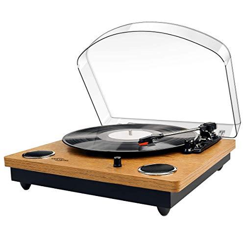 Giradischi Vinile,VIFLYKOO Bluetooth Portable USB Encoder digitale Giradischi con altoparlanti stereo integrati con TRE velocità 33/45/78 RPM e AUX In / Out - Legno naturale