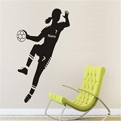 XCSJX Wandtattoo Tapete Sport Handball Spieler Tapete Mädchen Schlafzimmer Poster Wunschname Wandtattoo 57 x 120 cm