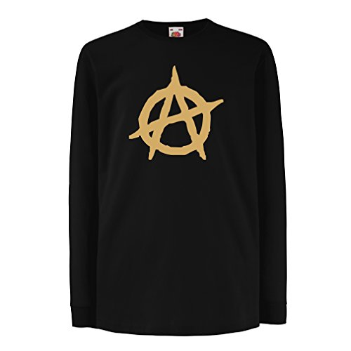 lepni.me kinder-T-shirt met lange mouwen anarchistisch symbool, anarchistisch politisch design, anarchie-monogram