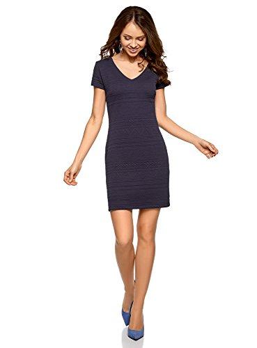 oodji Collection Damen Kleid aus Strukturiertem Stoff mit V-Ausschnitt, Blau, DE 36 / EU 38 / S