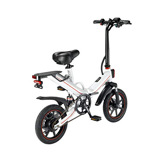 OUXI Electric Bike Tire Electric Bicycle Bike Booster Bike 48v 10A Lithium Battery Folding 400W 14inch Mens Women's ebike (white)