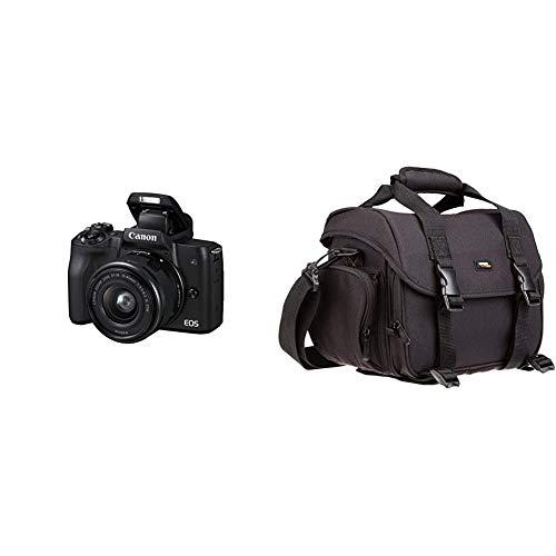 Canon EOS M50 spiegellos Systemkamera (24,1 MP, dreh- und schwenkbares 7,5 cm (3 Zoll)) mit Objektiv EF-M 15-45mm is STM schwarz & AmazonBasics - Große L Umhängetasche für SLR-Kamera und Zubehör