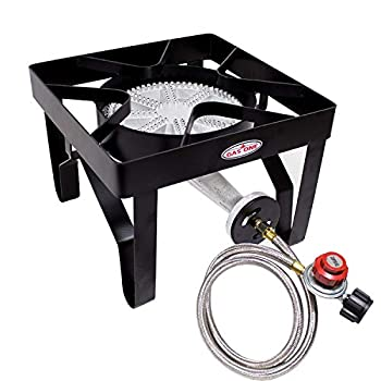 GasOne 200 000 BTU Square Heavy- Duty Single Burner Outdoor Stove Propane Gas Cooker with Adjustable 0-20Psi Regulator & Steel Braided Hose Perfect for Home Brewing Turkey Fry Maple Syrup Prep