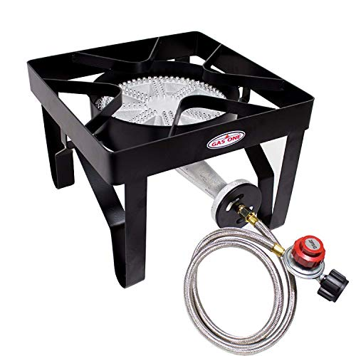 GasOne 200, 000 BTU Square Heavy- Duty Single Burner Outdoor Stove Propane Gas Cooker with...