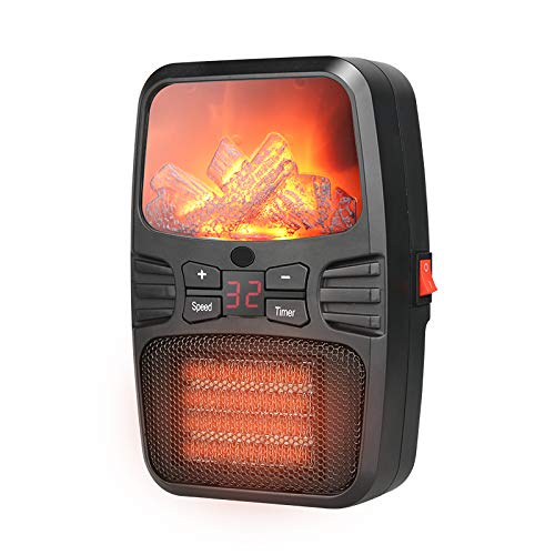 Mini Space Heater, 1000W Ceramic Portable Heater with Overheat & Tip-Over Protection, Remote Control & Timer, 3D Flame Effect ,Fast-Heat Digital Thermostat with Adjustable Temp & Speed