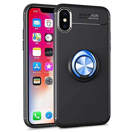 Happy-L Case For iPhone X, iPhone Xs Slim Soft TPU Case, 4-edge Shockproof Case wtih Metal Ring Kickstand/Bulit-in Iron Plate [Work with Magnet Phone Holder] for iPhone X/Xs