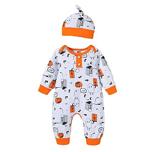 CHOSERL Mono de manga larga para bebé, conjunto de ropa de primavera con botón de cuello redondo clásico para Halloween, blanco, 0- 6 meses