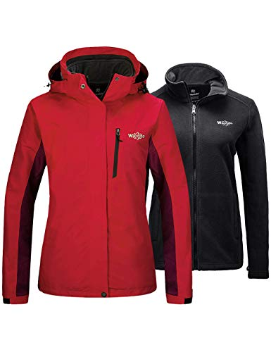 Wantdo Women's 3-in-1 Ski Jacket Winderproof Interchange Winter Coat Red Medium