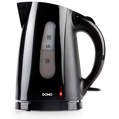 Domo DO9031WK Wasserkocher, Kunststoff, 1 Liter, Schwarz