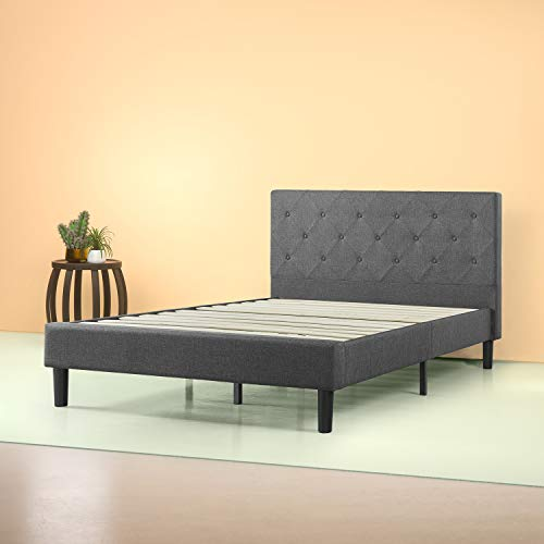 Zinus FDPB-K  Shalini Upholstered Diamond Stitched Platform Bed / Mattress Foundation / Easy Assembly / Strong Wood Slat Support / Dark Grey, King