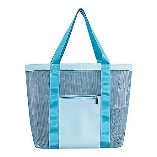 GLAITC Große Mesh Strandtasche, Sand Spielzeug Aufbewahrungstasche Folding Bag Faltbare mesh Einkaufstaschen Strandtasche Tote Sommer Strand Tasche für Familie Urlaub Reise Picknick