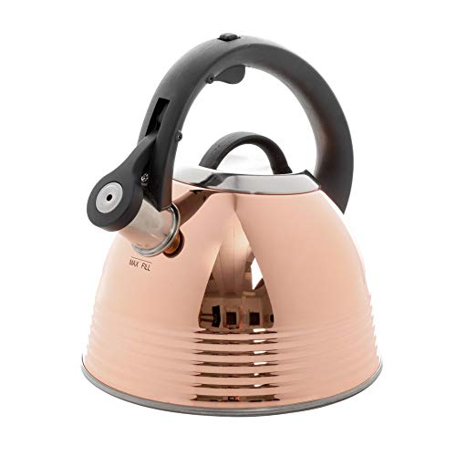 Mr Coffee Stainless Steel Whistling Tea Kettle Copper Plated, Mirror Polished, Black Bakelite Handle