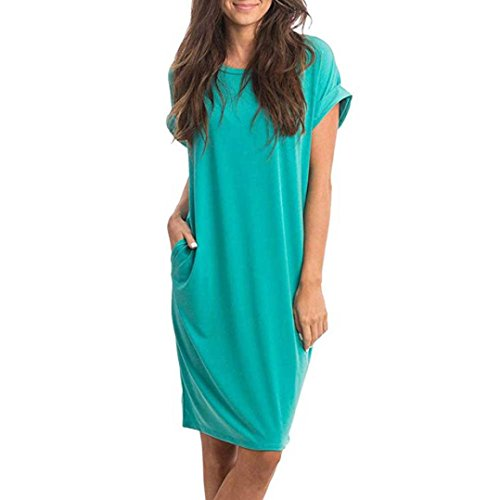 Damen Knielang Kleider,Kanpola Frauen Elegant Boho Casual Minikleid Kurzarm Shirt Blusen Kleid...