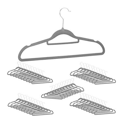 Relaxdays, grau Kleiderbügel 50er Set, Premium, schmal, Rutschfester Samtbezug, platzsparend, 360° drehbar, Hosenbügel, Pack