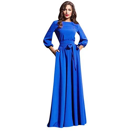 LEXUPE Frauen Sommer Lässig Partykleid Laterne Ärmel Solide Lange Kleider Mit Gürtel(Blau,Large)