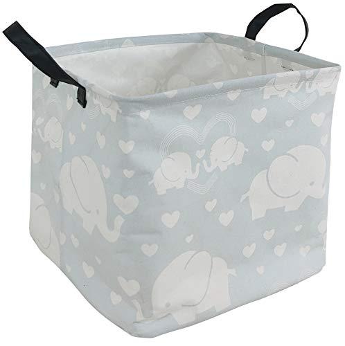 DUYIY Cesta de almacenamiento con asa grande organizador para ropa sucia cesto de ropa de bebé, juguetes para guardería, ropa de niños, cesta de regalo, Elefante de amor...