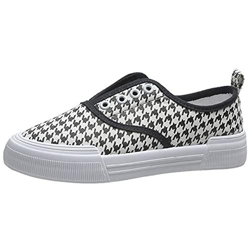 JXILY Zapatillas Lona Mujer Zapatos Casuales con Plataforma Unisexo Tenis Deporte Casual y Caminar Zapatillas Puntera Goma,Houndstooth,40