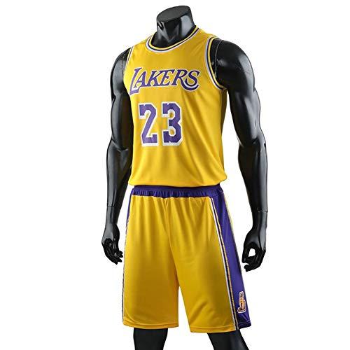 Niños Baloncesto Jerseys Lakers # 23 James Conjunto 2 Piezas Camiseta Sin Mangas Y Pantalones Cortos Atuendo (Color : Yellow, Size : XL)
