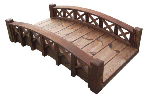 SamsGazebos Swan Wood Garden Bridge with Cross Halved Lattice Railings, 4', Brown