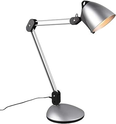 Trio Leuchten Nadal 525410187 Lampe de table LED en plastique avec pince de fixation et support mural Titane 6,8 W