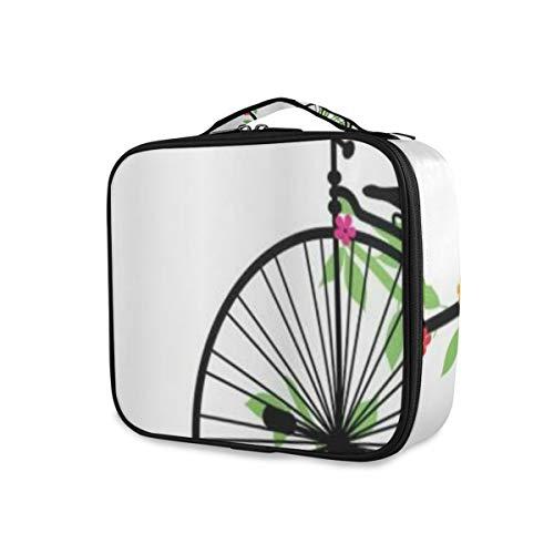 SUGARHE Bicicleta Volando pájaros y Flores en Bicicletas Viejas de una Sola Rueda Felicidad Joy Pedals Graphic,Neceser Maquillaje,Bolsa Cosméticos Organizador Brochas Maquillaje Estuches Portátil