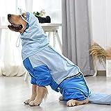 N\C Chubasquero para Perros Grandes para Ropa para Perros Doberman Greyhound Impermeable Tira Reflectante para Perros Monos para Mascotas Ropa (Color: Azul, Tamaño: XXXX-Large)