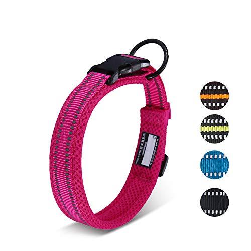 Petcomer Collare Cane Imbottito Nylon Regolabile Traspirante Riflettente Collari per Cani Gatti(Rosa XL)