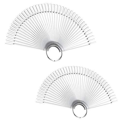 100 PCS Clear Fake Nail Swatches Fan-shaped Nails Display Sticks, Nail Art...