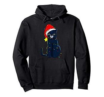Chat Noir Arbre De Noël Lumières Vacances Chats Amant Cadeau Sweat à Capuche