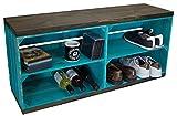 Kistenkolli Altes Land Zapatero con banco de frutas y tablas de madera maciza, color turquesa con tablones negros