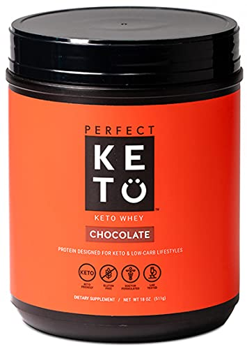 Perfect Keto Pure Whey Protein Powder Isolate Delicious 100% Grass Fed Meal Replacement Shake No Artificials, Gluten Free, Soy Free, Non-GMO (Chocolate)