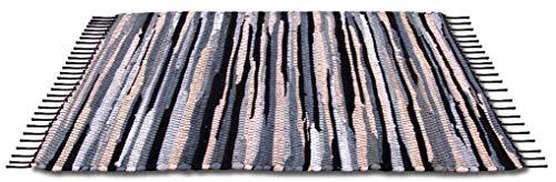 Bestlivings Flickenteppich 50 x 80 cm aus handgewebter Baumwolle in Anthrazit - Beige - Schwarz, viele Variationen