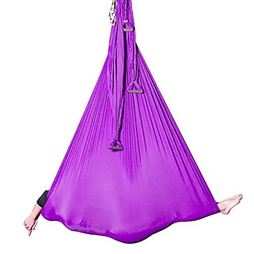 F.Life Aerial Yoga Hammock 6 Handle Set - Antigravity Yoga, Inversion Exercises, Improved Flexibility & Core Strength (Dark Purple, 1Hammock+6 Handles)