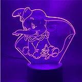 LSDAMN Lámpara de ilusión 3D Luz de noche Led Películas de Disney Niño pequeño Dumbo Bebé...