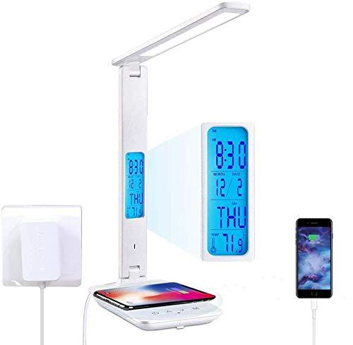 Morwealth Lampada da scrivania a LED,10 W ricarica senza fili con 3 colori e 5 livelli di luminosità lampada da comodino, orologio, data, porta USB, controllo touch lampada da scrivania pieghevole