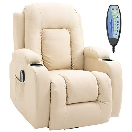 homcom Poltrona Massaggiante Riscaldante Reclinabile in Similpelle Beige con 8 Punti di Massaggio e Telecomando, 90x93x103cm