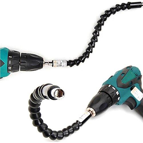Keyzone 2Pcs Flexible Power Bit 30cm Flexible Drill Schaft Bits Bohrer Winkel Verlängerung Winkelaufsatz für Akkuschrauber Bohrmaschine Schraubenzieher