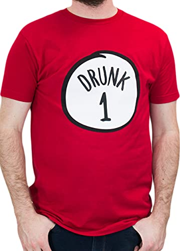 Drunk 1 | Funny Drinking Team, Group Halloween Costume Unisex T-Shirt-Adult, S Red