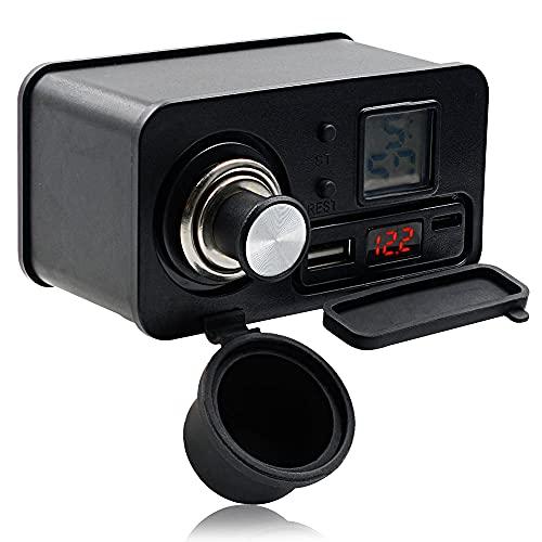 GOURIXIN Enchufe para Encendedor de Cigarrillos de Motocicleta DC12V con colilla para luz de Cigarrillo y Cargador USB Impermeable para Mango de Motocicleta, con horario Black