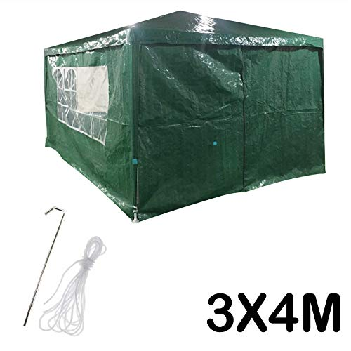 DICN 3x4m Gazebo with 4 Sides Walls Tent Waterproof Awning Canopy Rustproof Iron Frame PE Cover for Outdoor Garden Party Festival Wedding - Green