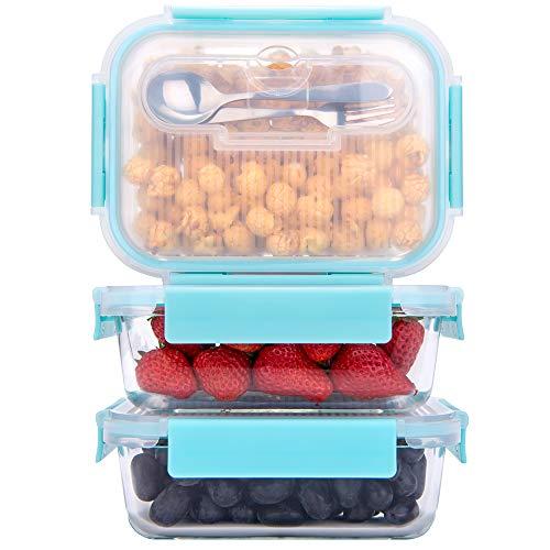 GENICOOK Frischhaltedosen aus Glas inkl. Mini Besteck, Meal prep Boxen Glas, Glasbehälter mit Deckel, Meal Prep Glasschüssel & Gefrierfach geeignet 1050ml *3