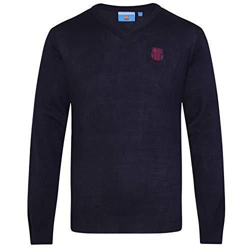 FC Barcelona - Jersey de punto con cuello de pico - Para hombre - Con el escudo del club - Producto oficial - Azul marino - XL