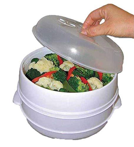 Niveau 2 Cuiseur Vapeur Micro Onde Pour Cuisson & Vapeur Légumes Poisson Riz