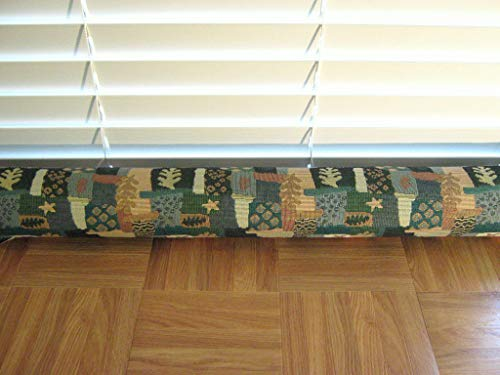 Door Draft Stopper Fabric Only Heavy Weight Upholstery Fabric Green Blue Tan & Beige Custom Made 24 inches - 42 inches X 3.5 inches Short Extra Long You Pick Length Same Price