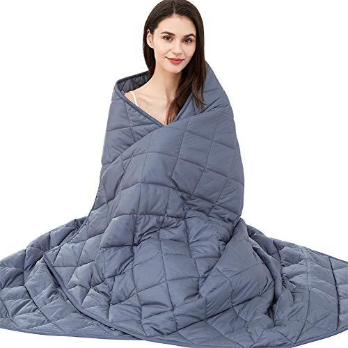 jaymag Couverture lestée pour adultes - 150 x 200 - 8 kg - Couverture lestée - Anti-stress - Pour l'anxiété et les troubles du sommeil - 100 % coton - Bleu