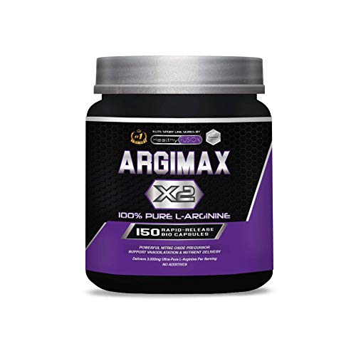 ARGIMAX X2 | 3gr de L-Arginina 100% pura por dosis | Aumenta la masa muscular, la energía y el rendimiento durante el entrenamiento | Potente precursor del óxido nítrico | 150 cápsulas